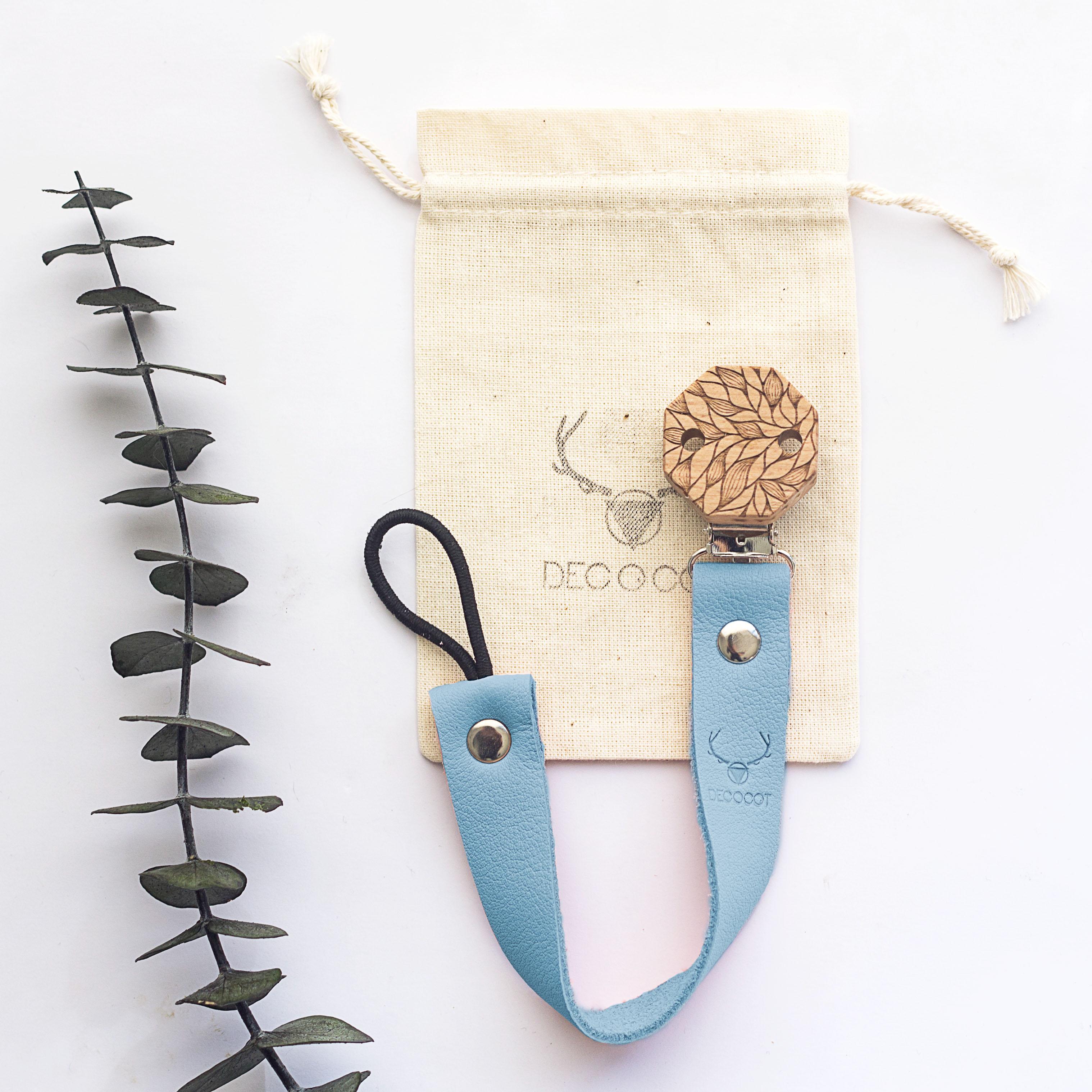 accroche tetine bleu écologique decocot