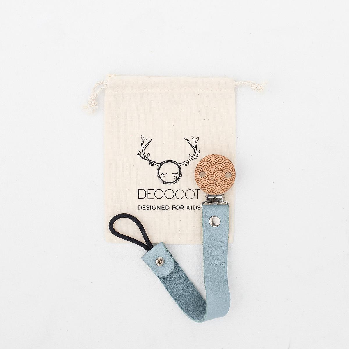 attache tetine accroche sucette pacifier clip decocot bois et cuir bio