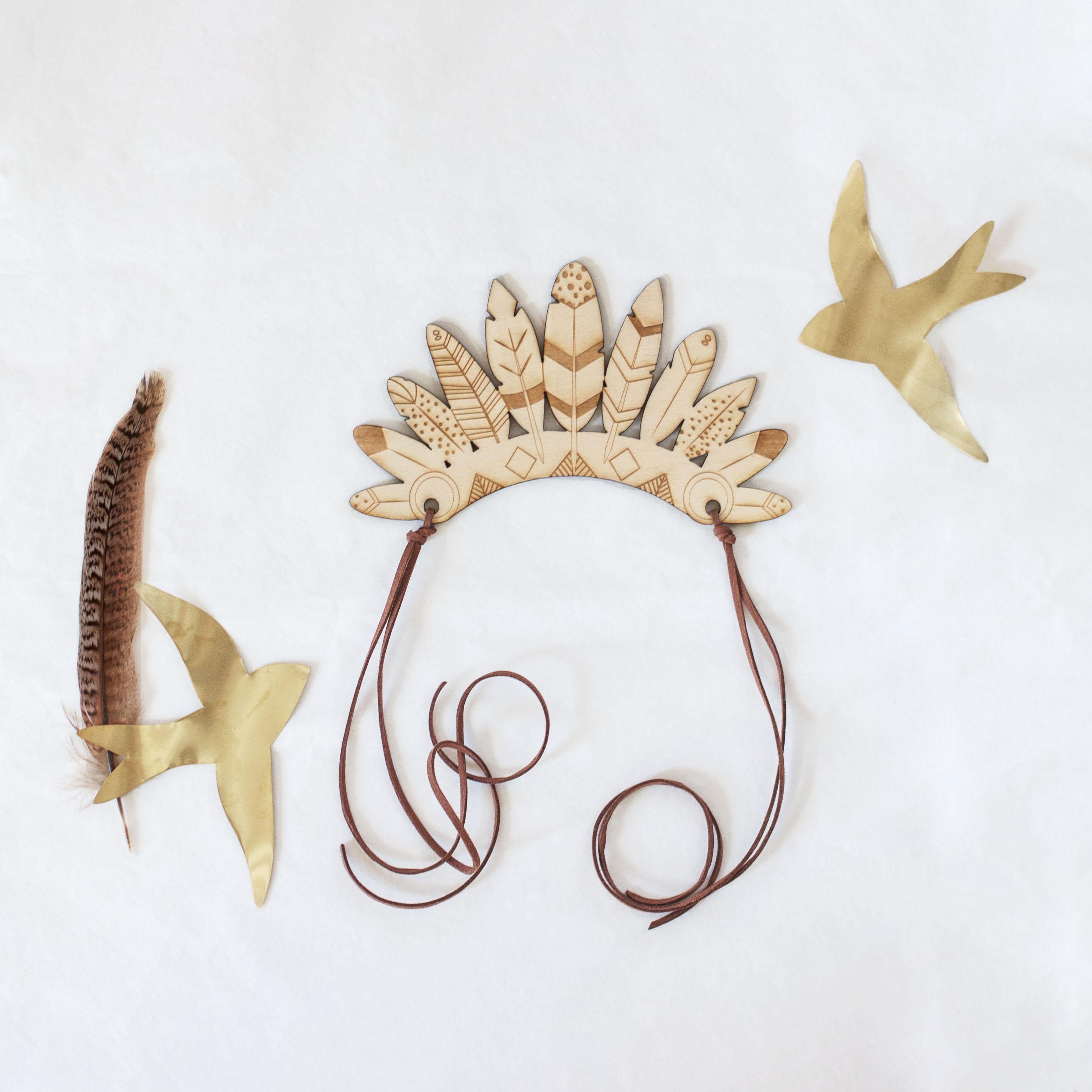 couronne déguisement indien coiffe en bois
