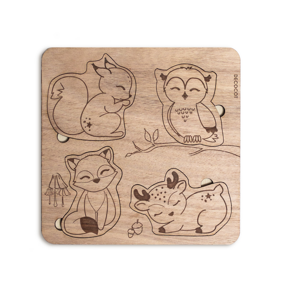 puzzle d'encastrement en bois pour bébé animaux de la foret