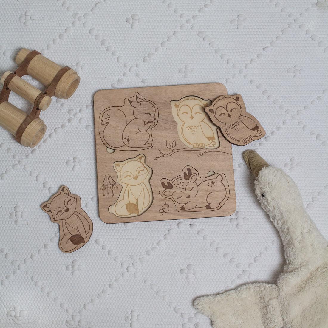 puzzle encastrement en bois pour enfant cadeau de noel animaux foret