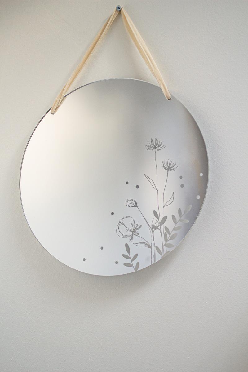 miroir gravé floral rond design decoration intérieure